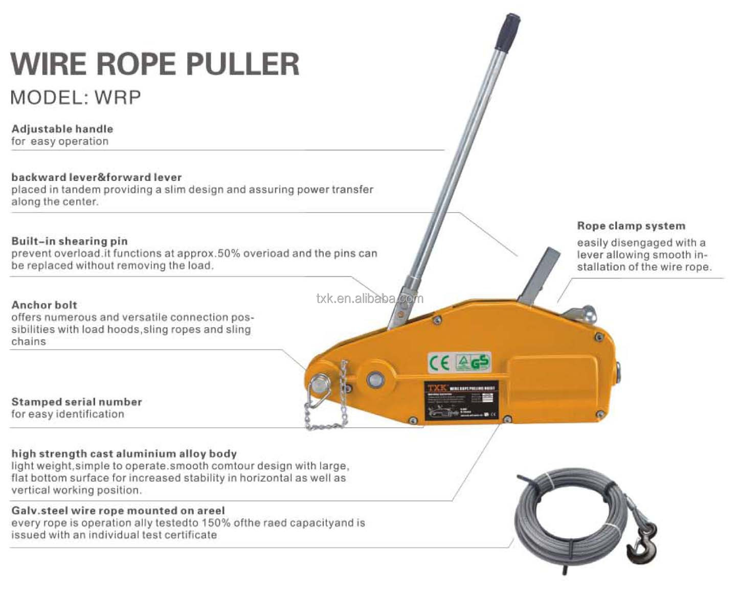 1600kg Wire Rope Puller Wire Cable Puller Wire Rope