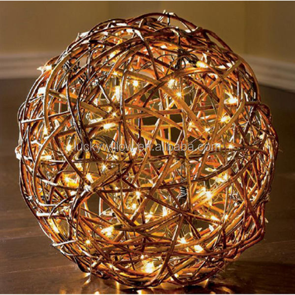 Pretty hanging decorative willow ball with light