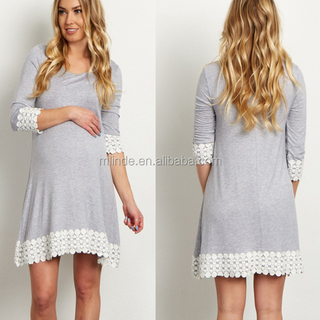 New Model Ladies Dress Fashion Women Grey White Lace Trim Designs 3/4 Sleeve Maternity Long Tunic/Dress