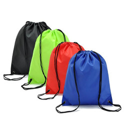 High quality with pu corner customized logo printed nylon drawstring backpack bag
