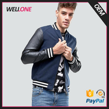 2017 high quality varsity sport oem brand logo two tone PU cotton blue black boy custom men leather jacket shop