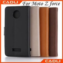 Hot selling accessories sublimation filp leather cell phone case with card slot for moto z force
