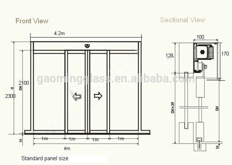 Automatic single tempered glass sliding door gm ad1405 for Sliding glass doors plan