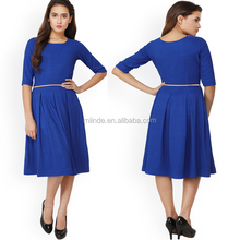 3/4 Sleeve Women Royal Blue Solid Knitted Fit Formal Dress Custom Summer Clothing Women Midi Dress With Belt China Import