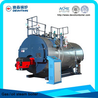 Natural gas fuel fired corrugated flue steam boiler for rotative dynamic extraction