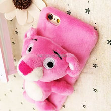 New product cute plush design back cover for iphone,Pink Panther back cover for iphone