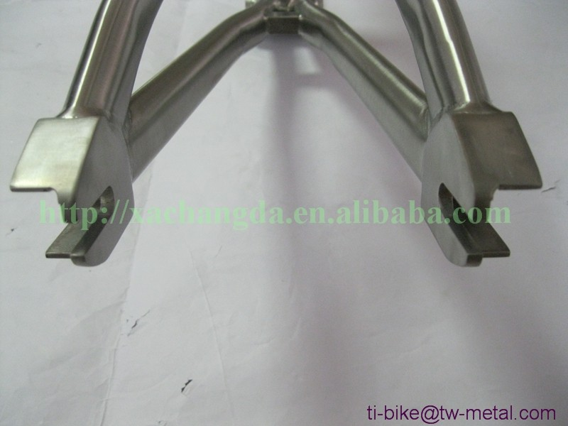 XACD Ti bmx bicycle frame with taper head tube and BSA thread BB shell