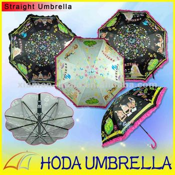 Promotional Telescopic children umbrella with lace sun Umbrella Outdoor Parasol