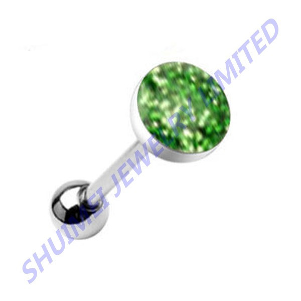 Phosphor Green Glitter Gem Silver Steel Tongue Ring Piercing Bar Tongue Barbells Piercing Jewelry