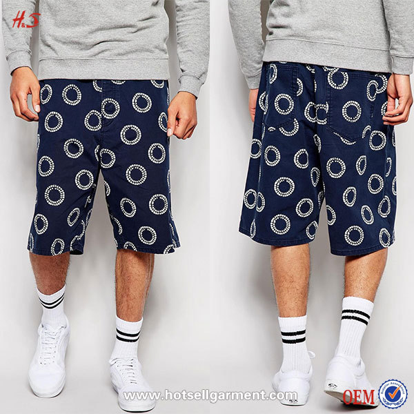 Oversized Chino Half Pants For Men Of Gym Shorts Style With Indigo Pattern For Best Selling Products In America With Wide Leg