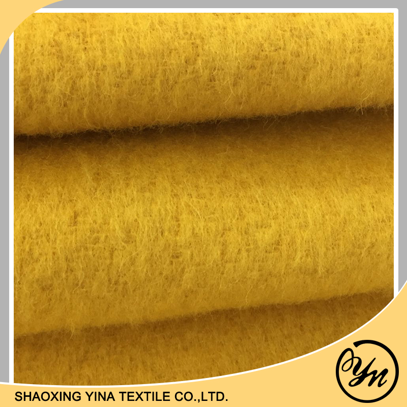 winter wool woven long fur yellow coat fabric