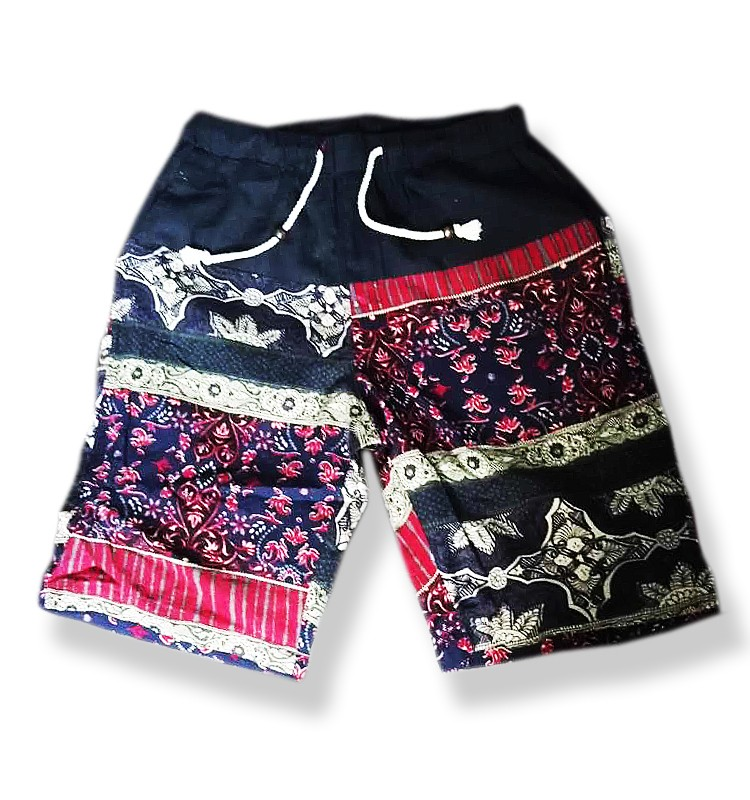 Fashionable men printed short pants custom Imitation linen materia beach shorts in guangzhou