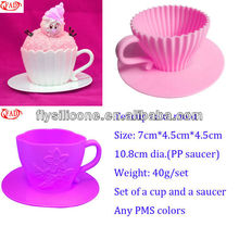Colorful Afternoon Tea Party Bake and Serve Cupcake Party Cup and Saucer Silicone Cupcake