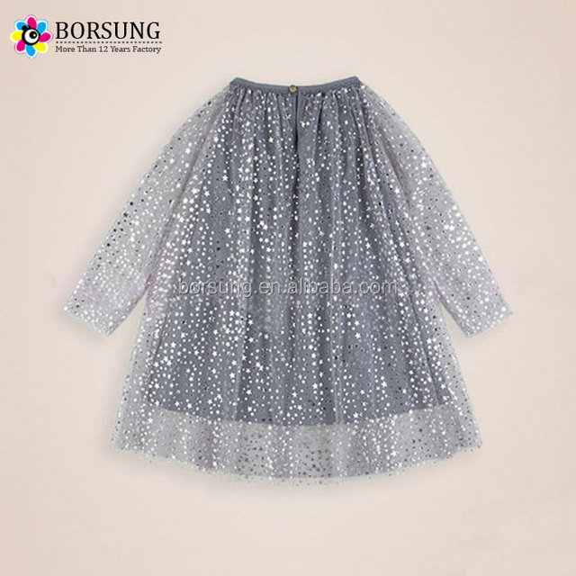 Borsung children frocks designs custom Spring Sequin Bubble long sleeve girls Birthday party dresses for kids clothing