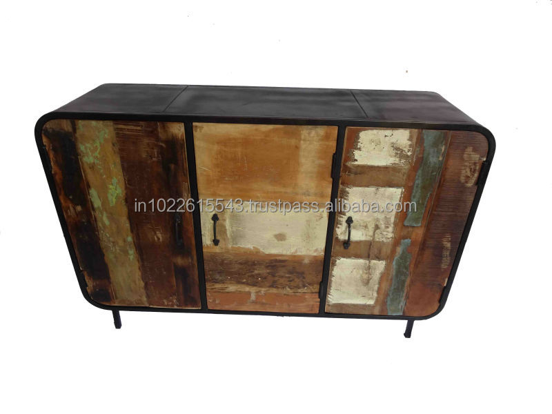 Industrial look TV Stand Recycle Metal TV unit with Wheels Vintage Furniture