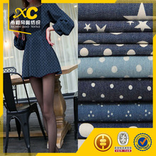 wholesale beautiful prit denim fabric for lady dress