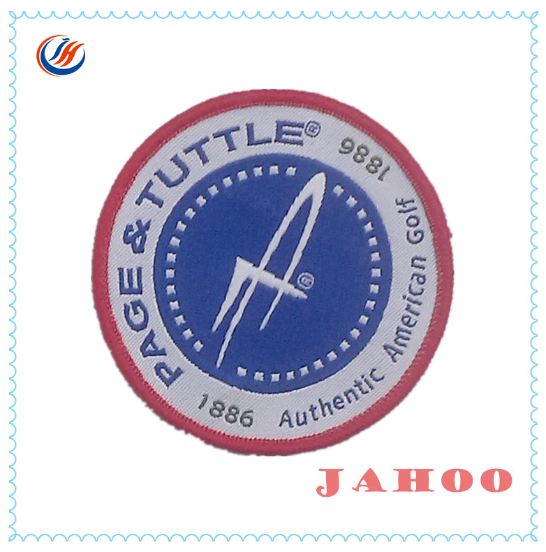 Directly Custom Round Clothing Garment Woven Badge For Jeans