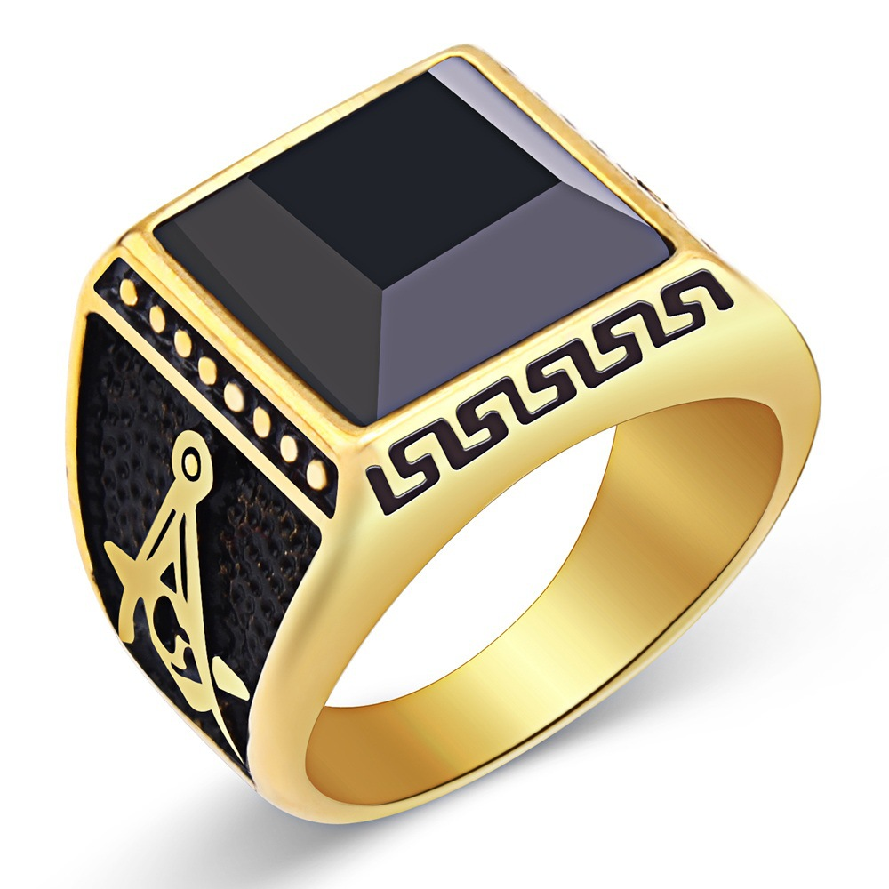 Masonic Ring For Men Simple Vintage Rings 2017 Popular <strong>18</strong> <strong>K</strong> <strong>Gold</strong> Plated Black Agate Anillos Jewelry
