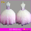 Custom Made Sweetheart Neckline Stone Beaded Patterns Ombre Ball Gown Quinceanera Dress