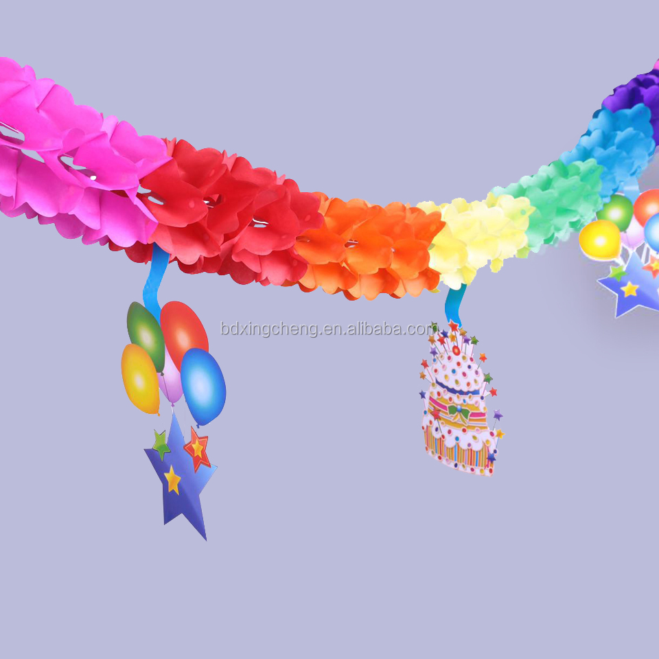 2018 elegant party decoration paper garland, handmade children's day valentine/Christmas decoration colored paper garland