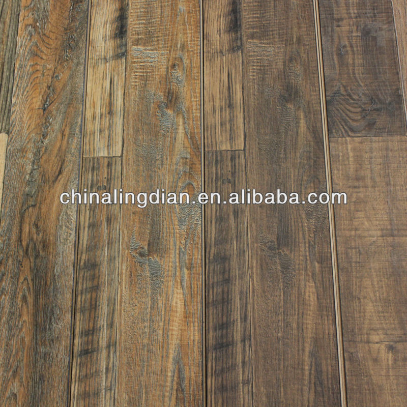 2014 newest walnut color laminated flooring 8mm 3-strip hdf floor china manufacturer