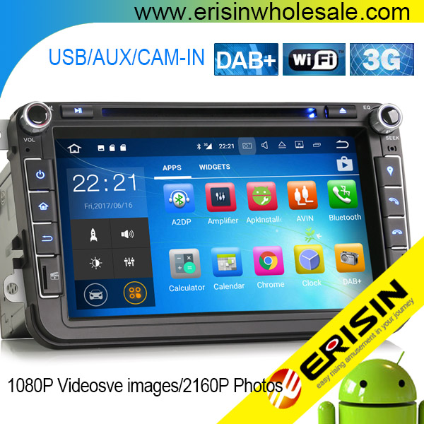 "ES3715V 1024*600 HD Capacitive Touch screen 8"" DAB+ Android 7.1 Car Stereo GPS SAT NAV CD For VW Passat Golf Touran Eos Seat"