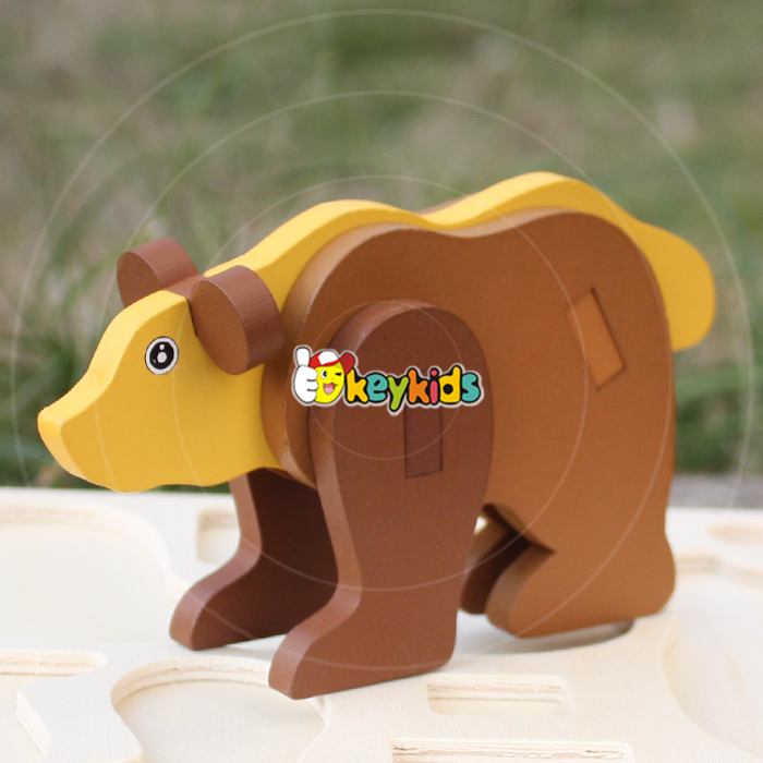 2017 wholesale funny kids wooden animal jigsaw puzzles new design children diy wooden animal jigsaw puzzles W14G039