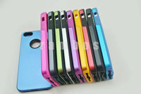 Aluminum Metal Chrome and Soft Silicon Rubber Feel Cell Phone Accessory Back Cover Case for iPhone5 5G