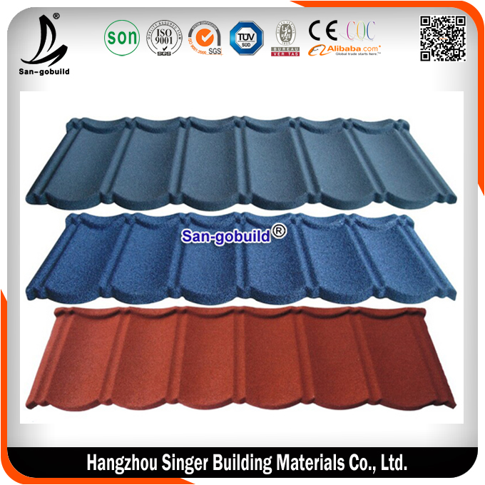 Building material steel metal products natural stone chip coated metal roof tiles from Guangzhou