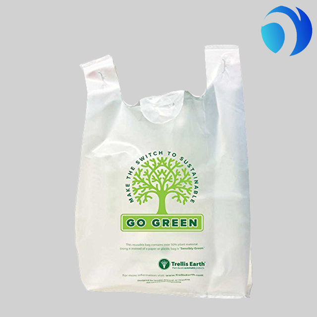 Large plastic colour HDPE biodegradable customized t-shirt vest carry carrier shopping bag