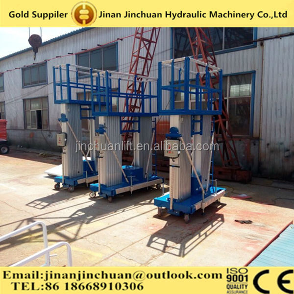 best quality 8mts aluminium alloy double mast man lifting elevator platform for sale