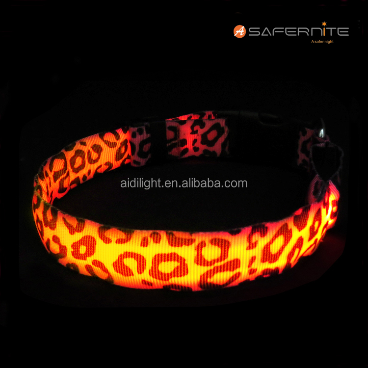 Factory Price Custom Logo Nylon Webbing LED Light Up Dog Collar