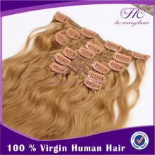 Alibaba Express Turkey Hot Sale Double Weft Thick Ends Clips Blonde Hair Extensions For Women