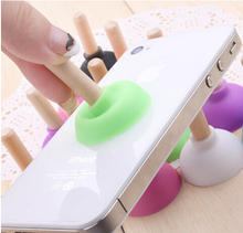 Silicone toilet plunger phone stand, mini sucker toilet plunger stand, toilet holder for iphone
