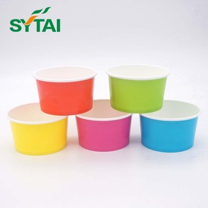Custom logo printed double PE coated ice cream paper cup with plastic lid