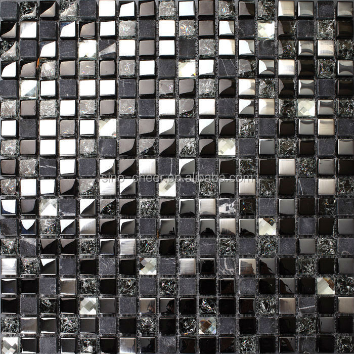 Gray stone black glass mosaic silver tile for kitchen wall backsplash bathroom