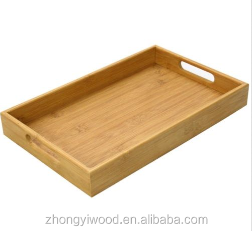 Trade assurance Rectangular Eco-friendly Bamboo Serving Tray With Handles