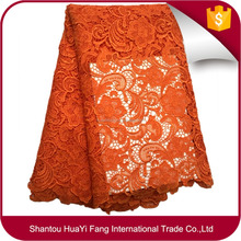 New Orange Heavy thick african guipure cord water souble lace fabric for nigerian wedding dress