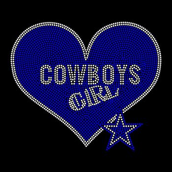 Cowboys Girl Rhinestone Transfers Design Hotfix Heart Football  Motif Transfer for Clothing