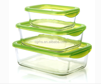 Recycled Green Rectangle Shape High Borosilicate Glass food storage container