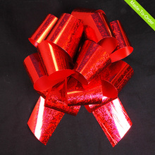 wholesale red gold pre-made holograph car ribbon bows