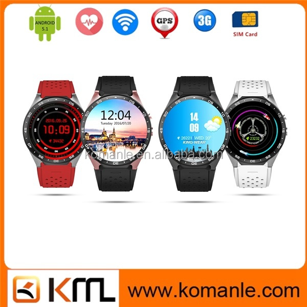 2016 Android 5.1 Bluetooth 4.0 Kw88 Smart Watch Mobile Phone With Gps Wifi