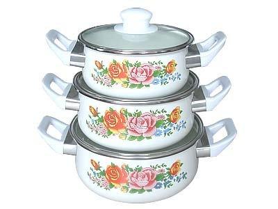 3pcs porcelain enamel casserole sets with bakelite handle