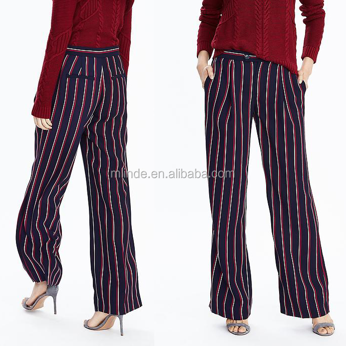 Wholesale Stylish Women Red Stripe Wide-Leg Pants Trousers Indian Style Cotton Print Casual Pants