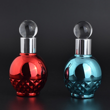 12ml round ball shaped UV gel colored glass dropper bottles empty red blue glass perfume bottle with glass applicator for sale