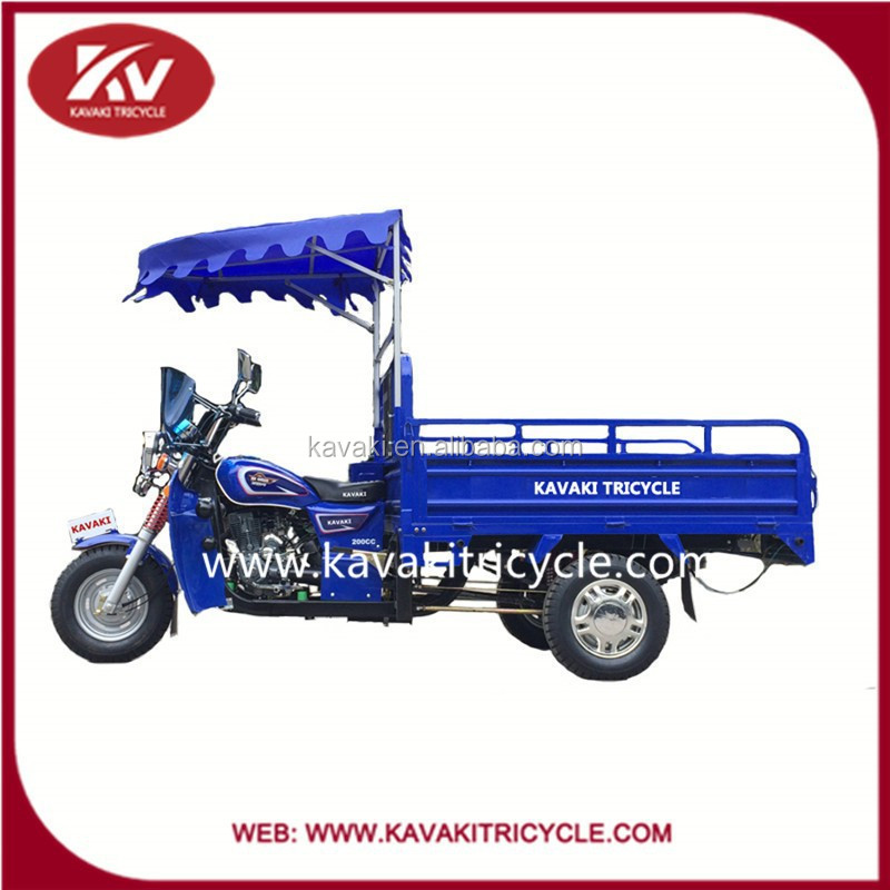 Three wheel large cargo motorcycle/agricultural cargo tricycle with shade front