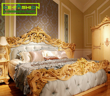 OE-FASHION carved solid wood European style bed room furniture super king bed