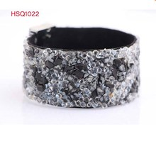 2015 HSQ New Arrival fashion acrylic resin macadam cuff bracelet