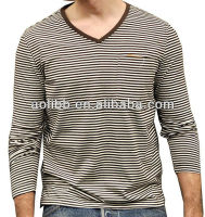 Strong Men's White and Black Striped Casual Tee with Pocket