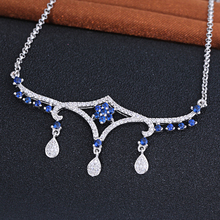 925 Sterling Silver Teardrop Changeable Pendant Necklace, Blue Flower Necklace